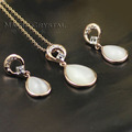 18K Rose Gold Plated Imitation Opal Water Drop Fashion Engagement Jewelry Set Free Shipping Pendant Earring Jewelry