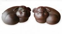 13CM Ebony Carving Figure Statue, A Pair Happy Pig Wood Ornaments Wooden Crafts  Decoration Sculpture Handicraft Business Gift