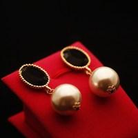 Vintage all-match oval black gem big pearl stud earring earrings