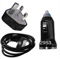 3 in 1 kit UK Plug 100 Wall Charger+100 Car Power Charger+100 USB Data Sync Cable For  iphone 4S 4 3GS ipod Free fedex