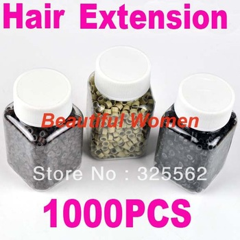3 Colors Mini Feather Hair Ring Beads Extensions Silicone Micro Beads Link  Black color 3246 3F