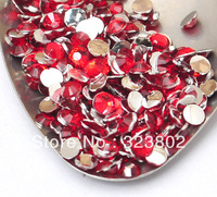 4MM Silver Plated Flatback Red Acrylic Rhinestone Button Supply for Nail Art Garments Bags Shoes Decoration-10,000PCS