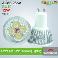 20X/lot GU10 AC85-265V 12W LED SpotLight Bulbs lamps downlights 4*3W led light