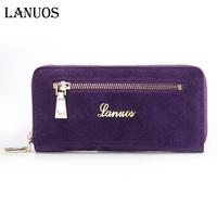 Lanuos 2013 fashion suede cowhide fashion long design wallet nubuck leather zipper wallet 241