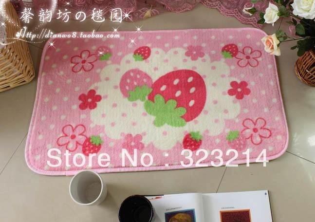 Frete Grátis Stylish Tapete Com Rosa Estilo 40 x 60cm , Morango bonita Tapete Quarto Tapete , Cozinha Tapete, Varanda mat(China (Mainland))