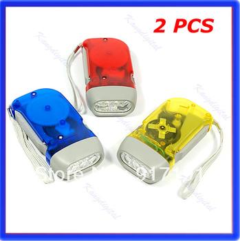Free Shipping 2pcs/lot Bright 3 LED Hand Press Flash Light Flashlight Torch