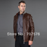 Male new arrival genuine leather sheepskin casual leather coat men's clothing plus size motorcycle leather clothing male
