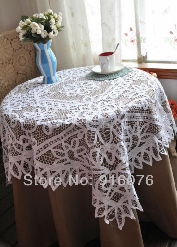 "White pure cotton Battenburg Lace tablecloth 40""x40"" Square. Free Shipping!!!(China (Mainland))"