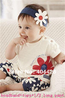 240  baby girl summer 3pcs set suit daisy printing headband+tops+3/5long pant free shipping girl set clothing