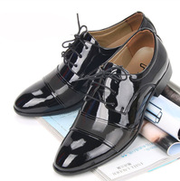 Free Shipping Newest High Quality  Fashion Men Leather Shoes  Low Male Business Shoes Man Pointed Toe Black Size 39-44