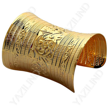 New fashion  18K gold plated bangle made of copper metal widen cuff bangle wholesale factory price/ free shipping