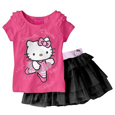 2x T-shirt met rok hello kitty,meisjes (kinderen)