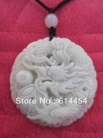 Chinese Natural Hand-carved Lantian Jade Pendant dragon with bead