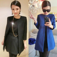 2012 spring noble and elegant small wool woolen overcoat long design outerwear female