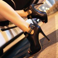 Fashion open toe shoe metal chain ultra high heels platform thin heels woman's sandals size 35-39