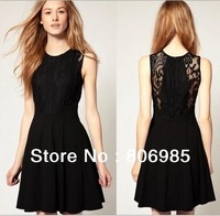 SCOOP NECK LACE INSERT ZIPPER BACK SKATER DRESS