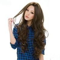 Bangs long curly hair wig elegant girls repair wig Free Shipping