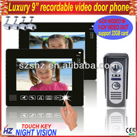 """Free shipping touch key 9"""" wired color recordable video door intercom monitor panel with DVR and CCTV camera functions"""