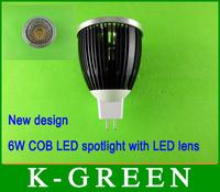 DHL FEDEX UPS TNT EMS free shipping mr16 6w cob led spot light with led lens