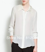 2013 new Promotions hot trendy cozy women blouse shirts jacket T-shirt Fashion Metal rivets rivets decorative collar chiffon