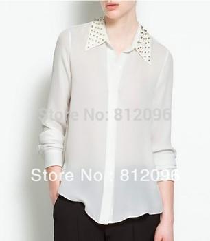 2015 new Promotions hot trendy cozy women blouse shirts jacket shirt Fashion Metal rivets rivets decorative collar chiffon