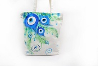 Chinese style hand painting bag blue and white porcelain peacock female bags vertical one shoulder canvas bag unique fashion