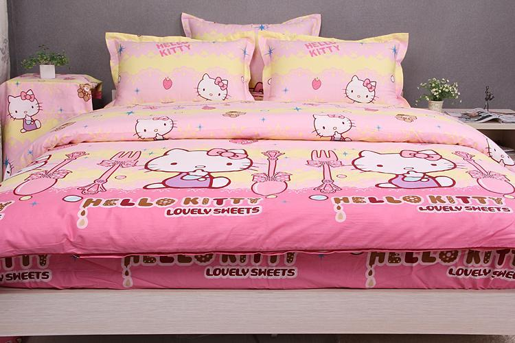 high quality hot sales hello kitty bedding,500TC Cotton Hello kitty pattern for grils, Twin/Full/Queen Size,EMS Free Shipping(China (Mainland))