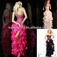 Latest Sweetheart Fitted Drop Waistline Fuchsia Black/Multi Nude Beaded Bodice Organza High Low Ruffle Prom Dress