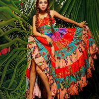 Fashion Jungle me bohemia color block one-piece dress patchwork vintage one-piece dress