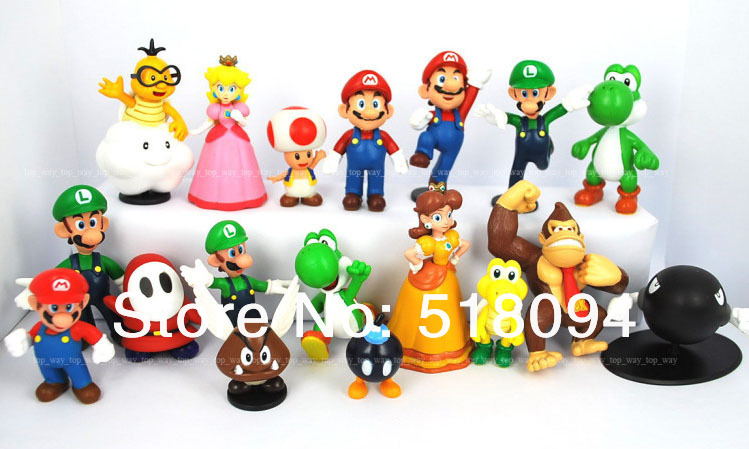 "Wholesale Retail Free Shipping Plastic Super Mario Bros 1-2.5"" 18PCS/SET Action figures Toys PVC Doll Gifts(China (Mainland))"