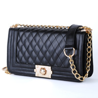 NEW ARRIVAL PROMOTION  2013 Women Handbags Black Colour Vintage Plaid Chain Bag PU Leather Women's Bags HEC512 Free Shipping!