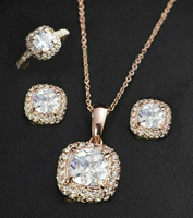 Free shipping Classic 18K Rose Gold plated Princess Cubic Zirconia Rings & Necklace & Earrings Jewelry Set