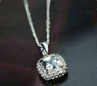 Free shipping Classic Platinum Plated Princess Cubic Zirconia statement Necklace pendant (UVOGUE UN0065)