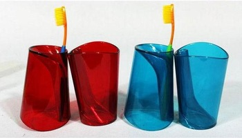 8CANDY COLOR valentine's day gift novelty for lover couple transparent long solid plastic toothbrush cup toothbrush holder set