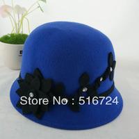 Three-dimensional flowers Diamond Wool dome cap bucket hats fisherman's cap.