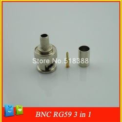 10sets 3 in one BNC male crimp Connector Plug for RG59 coaxial cable coupler adaptor for CCTV(China (Mainland))