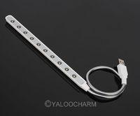 Hot Wholesale- 2pcs White USB 10 LED Light Lamp Flexible For Keyboard Read Notebook Laptop PC 80483 Free Ship