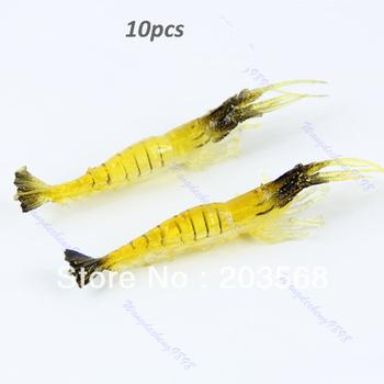D1910pcs 90mm 4g Soft Simulation Prawn Shrimp Shaped Bait Fishing Saltwater Lures