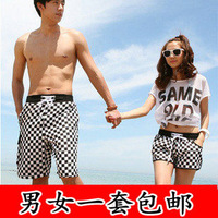 Black and white small plaid beach pants lovers beach pants shorts quick-drying shorts beach pants