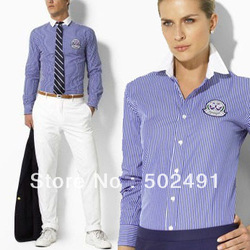 Brand New Women/Mens Fashion White Collar Blue&White Striped Shirts.Wimbledon The Champlon Ships Long Sleeves.High Quality!(China (Mainland))