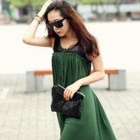 Dovetail irregular one-piece dress sleeveless patchwork tank dress elegant dress full dress