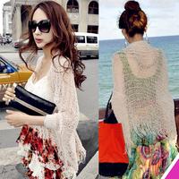 2014 korean All-match tassel cutout outside shirt loose outerwear cutout sweater cape,women summer sweater,free shipping