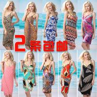 Viscose fancy deep V-neck sun dress beach dress beach clothes multi-purpose spaghetti strap one-piece dress dress