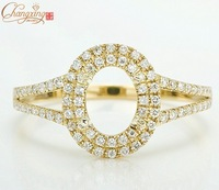Solid 14k Yellow Gold Natural Brilliant Diamond Semi Mount Engagement Ring Free shipping On sale