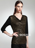 Free shipping Brand Alaves The fashion leopard bronzing heap collar T-shirt 502113104