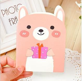 4DESIGN birthday kid novelty gift Stationery floral print bear notepad cartoon big face cat cute animal memo pad easy kawaii