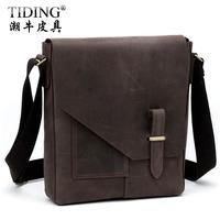 Hot Sale! Cattle personalized vintage crazy horse leather messenger bag commercial shoulder bag male messenger bag 10653