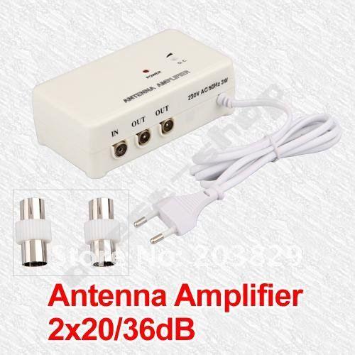 FM TV Amplified Aerial Antenna DVB-T Signal Amplifier Booster Splitter TA ANTENNA(China (Mainland))
