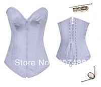 Metal Boning Gorgeous Corset white ( Bustier+g-string)  High Qualtiy  Women intimates Sexy Lingerie  6015