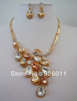 Hot selling High Quality Gorgeous Wedding Jewelry sets Peacock Shape Bridal jewelry sets Shiny Rhinestone Bridal sets